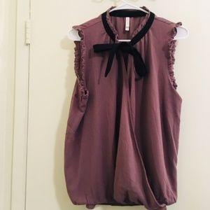 Xhiliration Mavve/ black Tie Blouse Sz XL